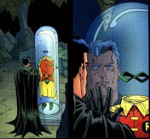 Batman's Batcave memorial to Jason Todd's Robin costume