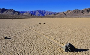 Sailing Stones crossing paths in the desert